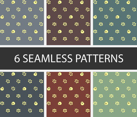 Set of 6 seamless patterns Skull and flowers in vector graphic.