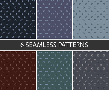Set of 6 seamless patterns geometric in vector graphic. Dark blue, green, red, purple and dark gray.