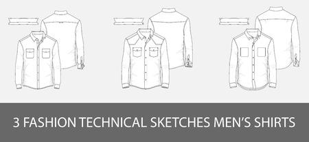 3 Modowe szkice techniczne męska koszula z długimi rękawami i naszywanymi kieszeniami w wektorze. Ilustracje wektorowe