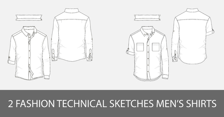 2 Fashion technical sketches mens shirt with long sleeves and patch pockets.