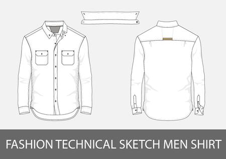長袖とパッチポケットを持つファッションテクニカルスケッチ男性シャツ。