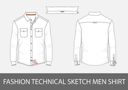 Fashion technical sketch men shirt with long sleeves and patch pocketsr.