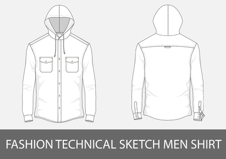 Fashion technical sketch men shirt with long sleeves, hood and patch pockets. Illustration