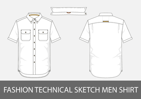 Fashion technical sketch men shirt with short sleeves and patch pockets.