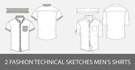2 Fashion technical sketches mens shirt with short sleeves and patch pockets.