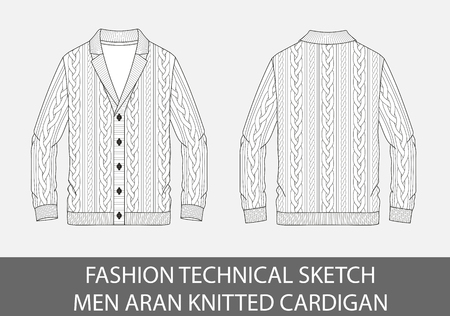 Fashion technical sketch men knit aran single-breasted cardigan in vector graphic.