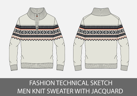 Fashion technical sketch men knit sweater with jacquard in vector graphic.