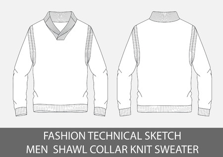 Fashion technical sketch men shawl collar knit sweater in vector graphic.