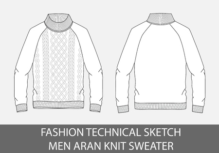 Fashion technical sketch men knit single-breasted sweater in vector graphic.