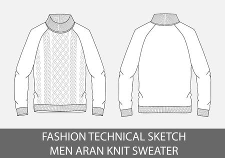 Los hombres del boceto técnico de la moda tejen el suéter de un solo pecho en gráfico de vector. Foto de archivo - 91668598