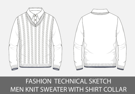 Fashion technical sketch men knit sweater with shirt  collar in vector graphic.