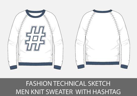 Mode technische schets mannen gebreide trui met hashtag in vectorafbeelding. Stock Illustratie