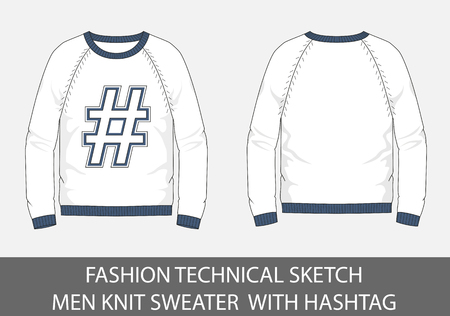 Fashion technical sketch men Knit Sweater with hashtag in vector graphic.