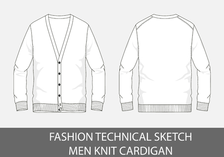 Fashion technical sketch men knit cardigan in vector graphic