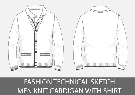 Fashion, technical sketch men knit cardigan with shirt in vector graphic