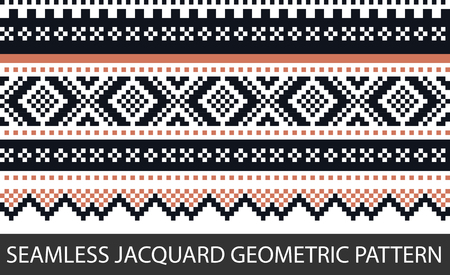 Seamless jacquard geometric pattern in vector graphic.
