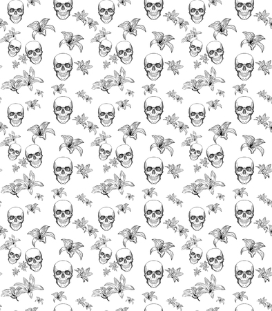 Hand-drawn seamless pattern Skull and Lily on white background