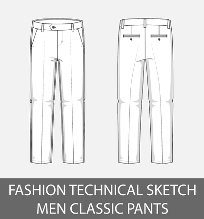 Fashion technical sketch men classic pants in vector graphic