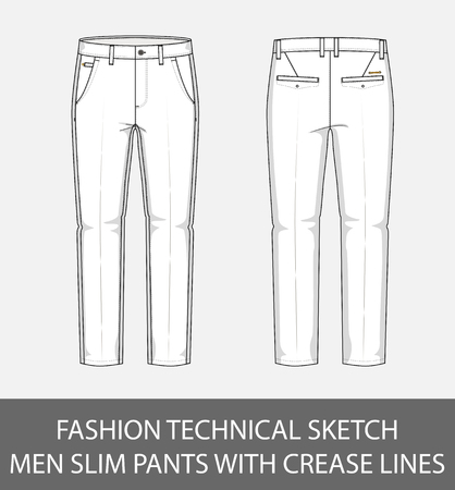 Fashion technical sketch men slim pants with crease lines in vector graphic. Illustration