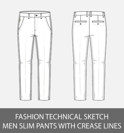 Fashion technical sketch men slim pants with crease lines in vector graphic. Vectores
