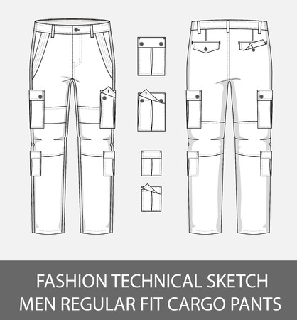 Fashion technical sketch, men regular fit cargo pants with 4 patch pockets. Ilustracja