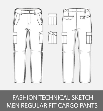 Fashion technical sketch, men regular fit cargo pants with 2 patch pockets
