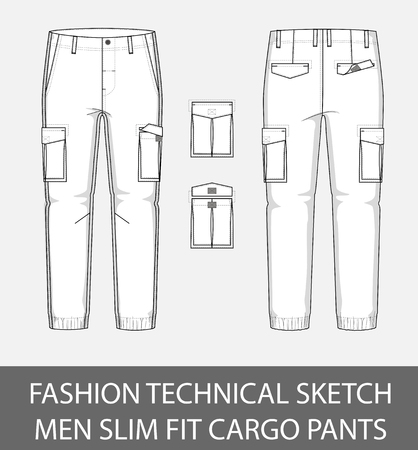 Fashion technical sketch, men slim fit cargo pants with 2 patch pockets 向量圖像