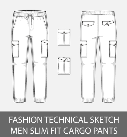 Fashion technical sketch, men slim fit cargo pants with 2 patch pockets Ilustração
