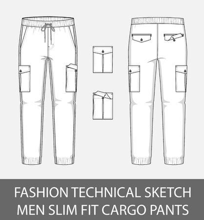 Szkic techniczny mody, męskie spodnie cargo z 2 naszywanymi kieszeniami