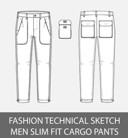 Fashion technical sketch, men slim fit cargo pants with 4 patch pockets Иллюстрация