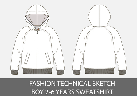 Fashion technical sketch of sweatshirt with hood for 2-6 years old boy.