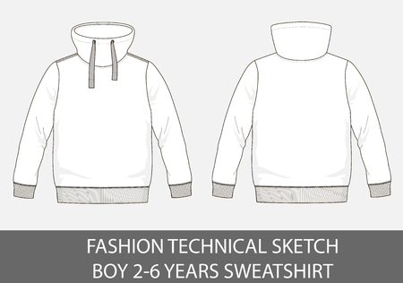 Fashion technical sketch of sweatshirt for 2-6 years old boy. Illustration