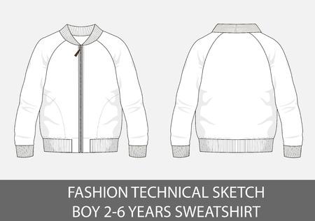 Fashion technical sketch of sweatshirt for 2-6 years old boy. Illusztráció