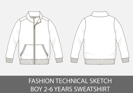 Fashion technical sketch of sweatshirt for 2-6 years old boy.  イラスト・ベクター素材