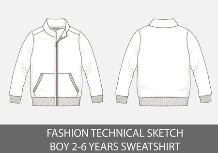 Fashion technical sketch of sweatshirt for 2-6 years old boy. Illustration
