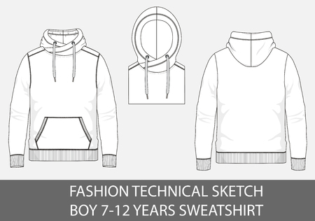 Fashion technical sketch of sweatshirt with hood for 7-12 years old boy. Illustration