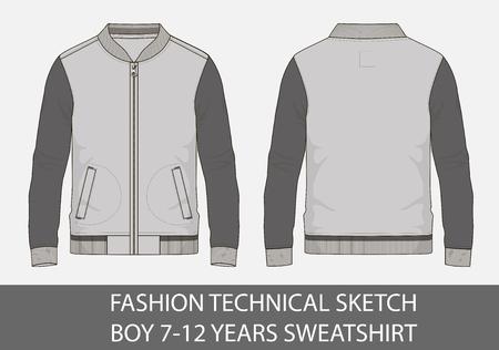Fashion technical sketch of sweatshirt for 7-12 years old boy.