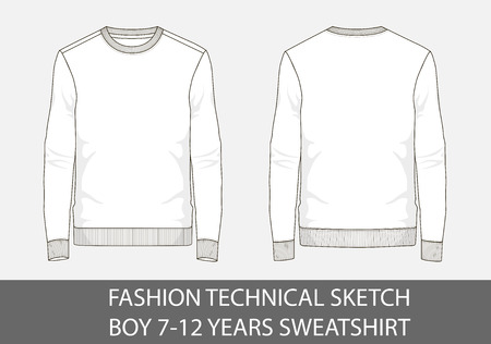 Fashion technical sketch of sweatshirt for 7-12 years old boy.