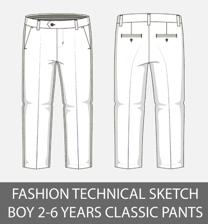 Fashion technical sketch boy 2-6 years classic pants in vector graphic Illustration