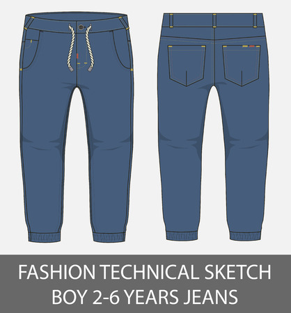 Fashion technical sketch boy 2-6 years jeans in vector graphic Illustration