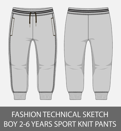 Fashion technical sketch boy 2-6 years old sport knit pants in vector graphic