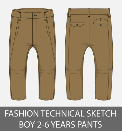Fashion technical sketch boy 2-6 years pants in vector graphic