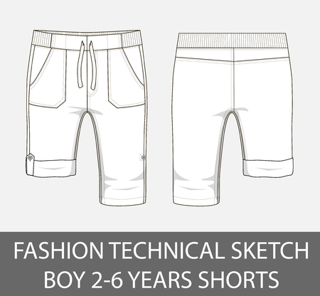 Fashion technical sketch boy 2-6 years shorts in vector graphic Illustration