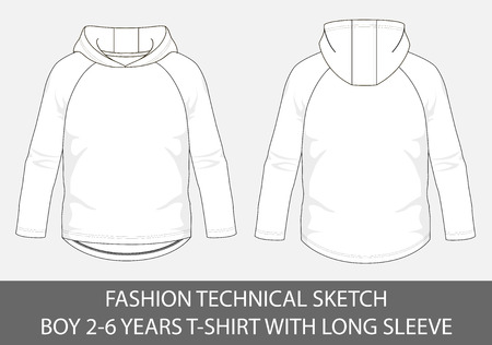 Fashion technical sketch for boy 2-6 years hoody t-shirt with long sleeve in vector graphic Illustration