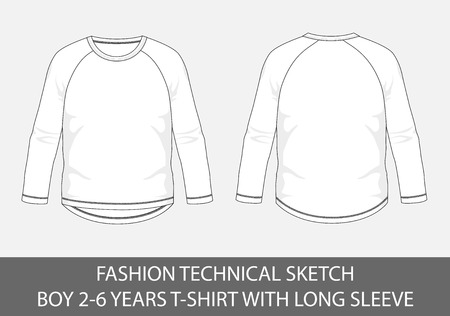Fashion technical sketch for boy 2-6 years t-shirt with long sleeve in vector graphic