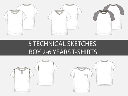 Fashion technical sketches boy 2-6 years t-shirts with short sleeve in vector graphic Illustration