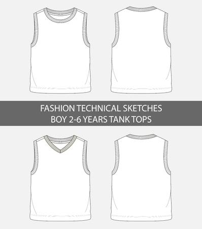 Bocetos técnicos de moda para niños de 2 a 6 años, camisetas sin mangas en gráfico vectorial