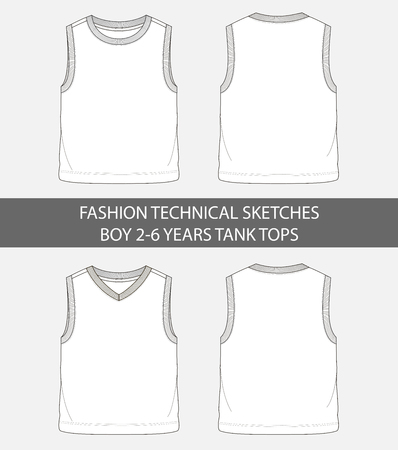 Fashion technical sketches for boys 2-6 years tank tops in vector graphic