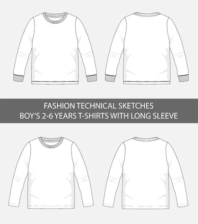 Fashion technical sketches for boys 2-6 years t-shirts with long sleeve in vector graphic