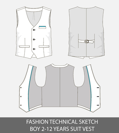 Fashion technical sketch for boy 2-12 years suit vest in vector graphic